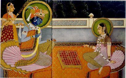 Krishna and the king playing chess (from Wikipedia)