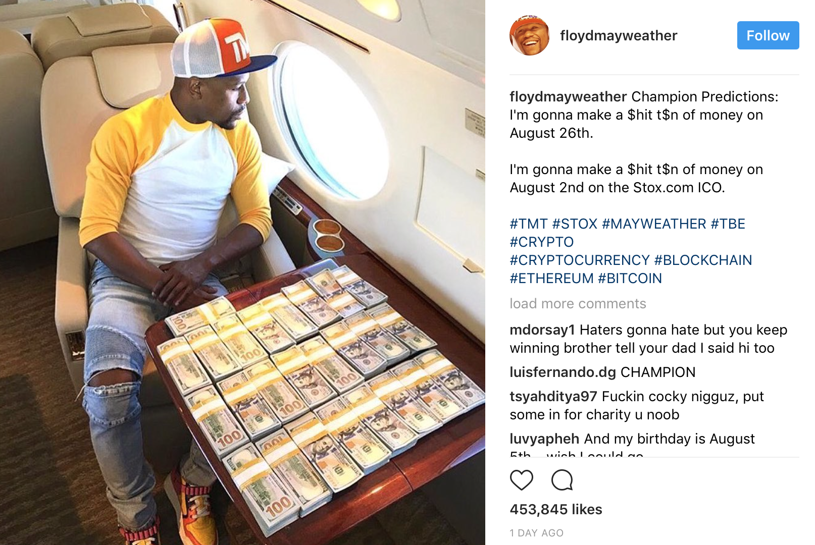 Floyd Mayweather promoting a cryptocurrency on Instagram